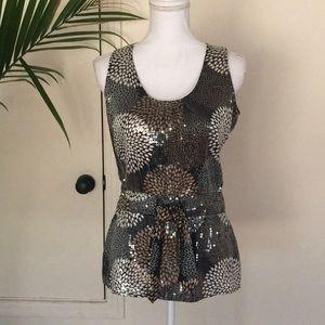 Tory Burch Sz 6 silk sequins tank blouse top shirt